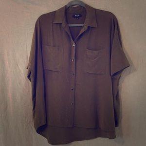 Madewell Silk courier shirt  blouse GUC Sz L